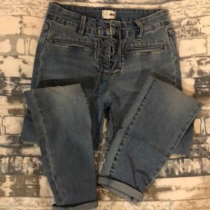 High Waisted Lace Up Jeans